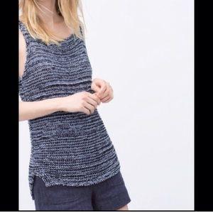 Zara blue sweater tank. Size M. New without tags